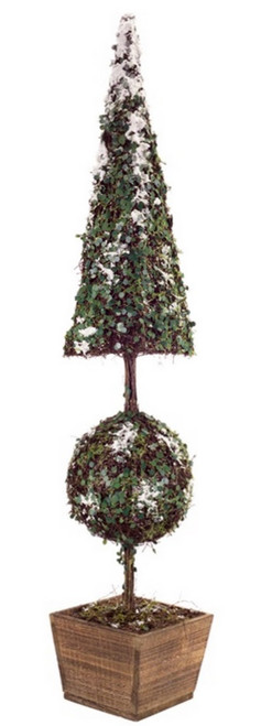 3.25' Green Potted Snow Covered Topiary Artificial Christmas Tree - Unlit - IMAGE 1