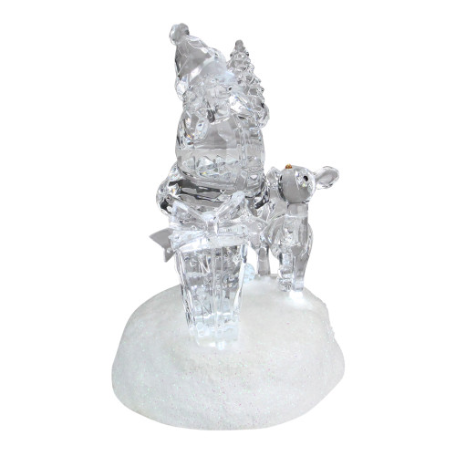 "5.25"" Prelit Clear Crystal LED Santa Claus with Reindeer Christmas Figure - IMAGE 1"