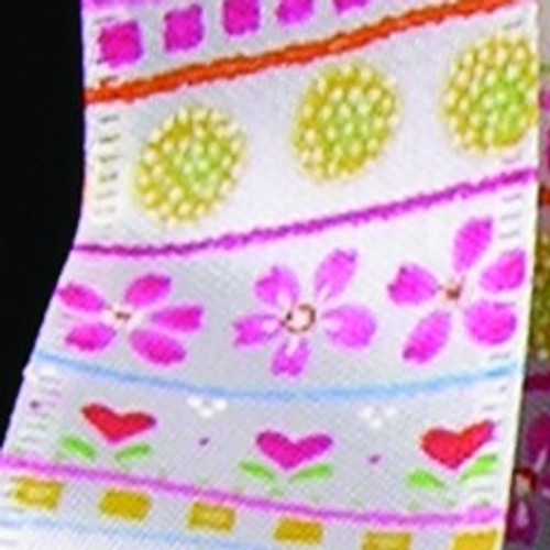 """Pink and White Print Wired Craft Ribbon 1.5"""" x 40 Yards - IMAGE 1"""