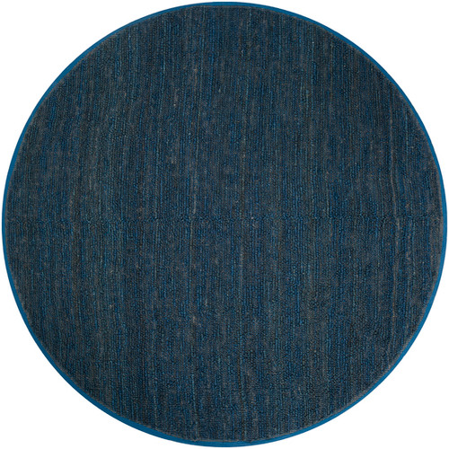 8' Solid Denim Blue Hand Woven Round Area Throw Rug - IMAGE 1