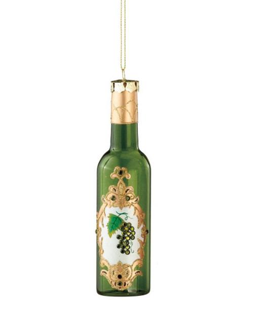 """6"""" Ornate Green Glittered Wine Bottle Christmas Ornament - IMAGE 1"""