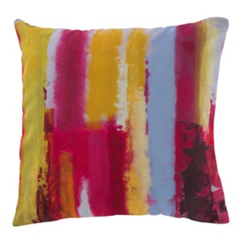 "18"" Red and Yellow Splash Striped Square Throw Pillow Cover - IMAGE 1"