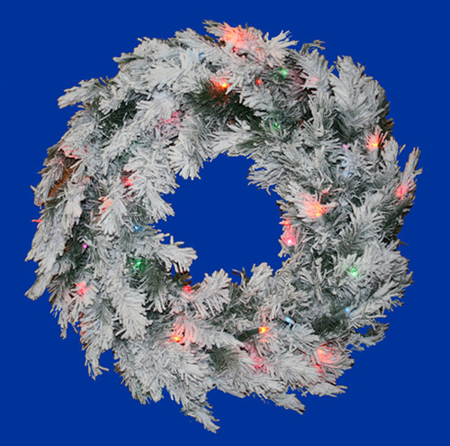 Pre-Lit Flocked Alaskan Artificial Christmas Wreath - 48-Inch, Multi Dura Lights - IMAGE 1