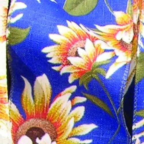 """Blue and Yellow Sunflower Meadow Wired Craft Ribbon 4"""" x 20 Yards - IMAGE 1"""