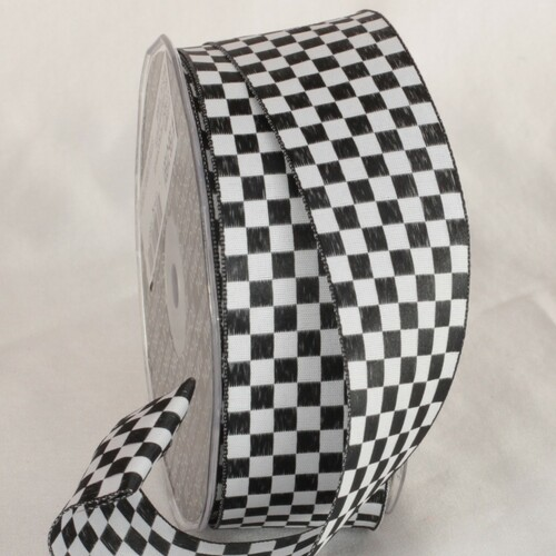 """Black and White Checkered Wired Craft Ribbon 1.5"""" x 54 Yards - IMAGE 1"""