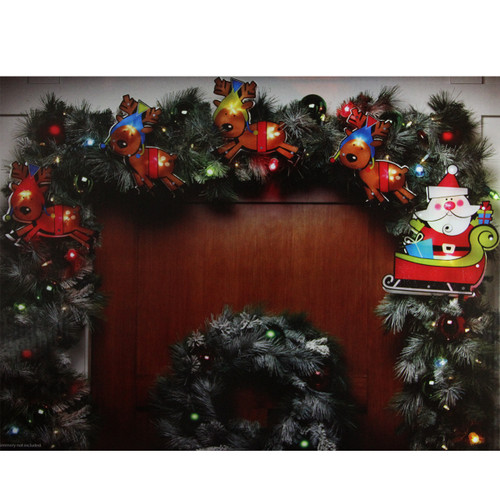 10 Brown and Red Santa Claus & Reindeer Christmas Light Garland Mini Lights - 5.75 ft White Wire - IMAGE 1