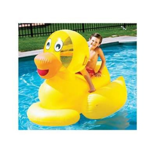 Inflatable Yellow and Orange Giant Ducky Swimming Pool Float Toy, 12-Inch - IMAGE 1