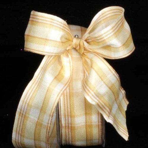 """White and Gold Plaid Wired Craft Ribbon 1.5"""" x 27 Yards - IMAGE 1"""
