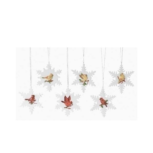 """Club Pack of 12 White and Green Cardinal on Snowflake Christmas Ornaments 4"""" - IMAGE 1"""