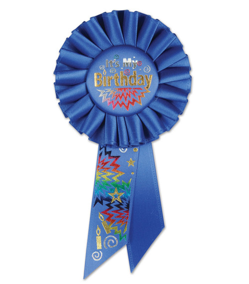 """Pack of 6 Royal Blue """"It's My Birthday"""" Party Celebration Rosette Ribbons 6.5"""" - IMAGE 1"""