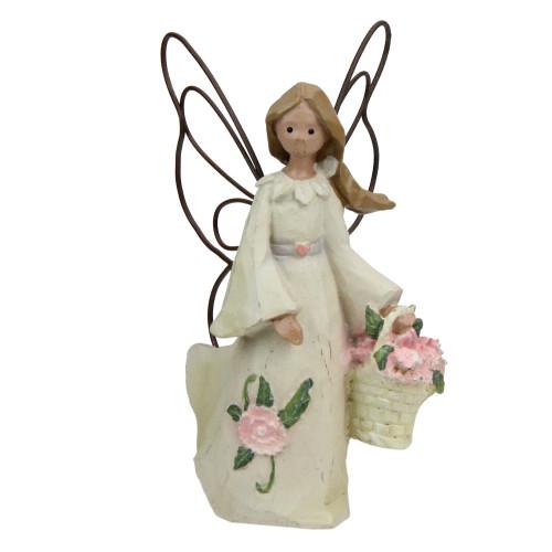 Set of 4 January Monthly Angel Carnation Birthday Figurines #49301 - IMAGE 1