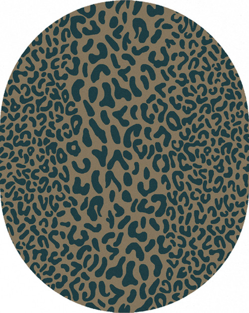 8' x 10' Les Animaux Mink and Cerulean Cheetah Hand Tufted Oval Wool Area Throw Rug - IMAGE 1