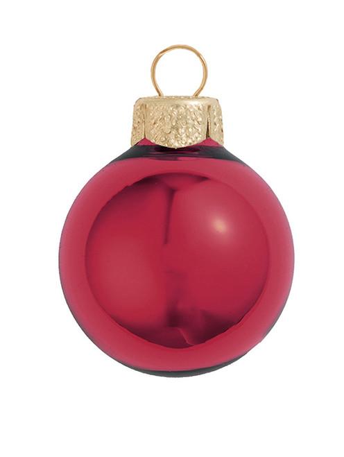 "8ct Burgundy Red Shiny Glass Christmas Ball Ornaments 3.25"" (80mm) - IMAGE 1"