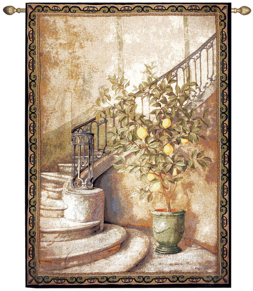 """Ivory and Sage Green Lemon Tree Stairwell Wall Art Hanging Tapestry 80"""" x 56"""" - IMAGE 1"""