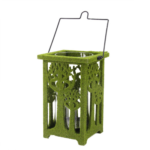"""13.75"""" Green Moss Covered Tree Cut-Out Pillar Candle Lantern - IMAGE 1"""