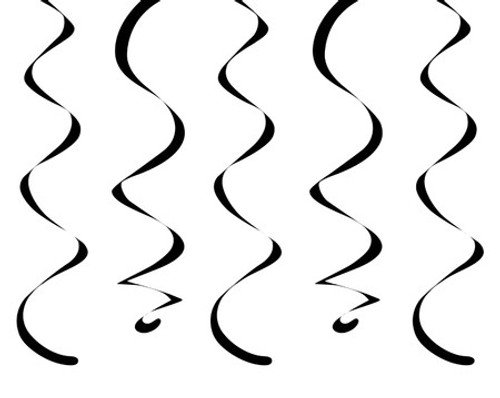 """Club Pack of 120 Jet Black Dizzy Dangler Streamers Party Decorations 18"""" - IMAGE 1"""
