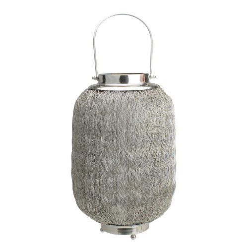 """23"""" Beach Day Contemporary Chic Large Wire Woven Hurricane Pillar Candle Holder - IMAGE 1"""