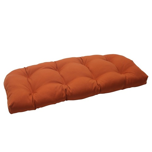"""44"""" Burnt Orange Solid Outdoor Patio Tufted Wicker Loveseat Cushion - IMAGE 1"""