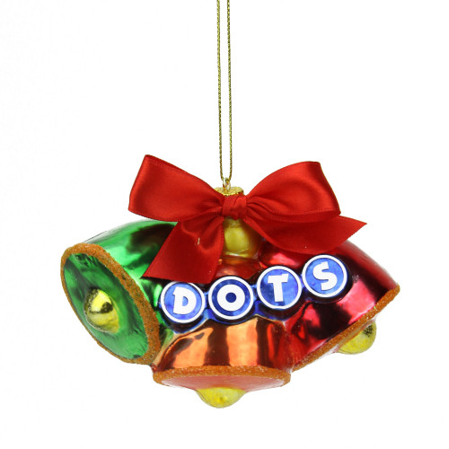 """3"""" Green and Red Candy Lane Tootsie Roll Dots Gumdrop Candies Glass Christmas Ornament - IMAGE 1"""