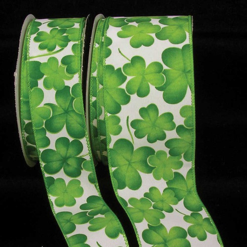 """Green and White Floral Wired Craft Ribbon 2.5"""" x 40 Yards - IMAGE 1"""