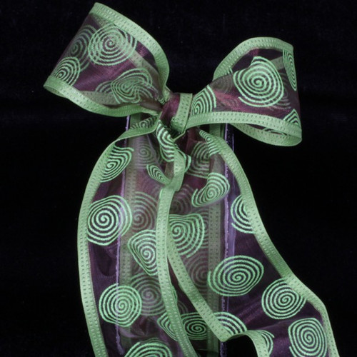 """Chocolate Brown and Lime Green Sheer Wire Edged Craft Ribbon 1.5"""" x 80 Yards - IMAGE 1"""