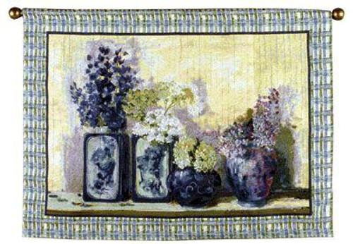 "Ladies Mantle Flowers Vases Wall Hanging Tapestry 40"" x 54"" - IMAGE 1"