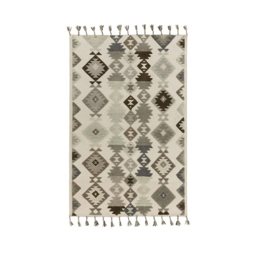 6' x 9' Iroquois Creations Beige, Slate, Off Black and Dark Black-Brown Hand Woven Area Throw Rug - IMAGE 1