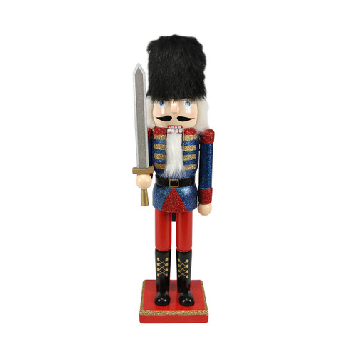 """14.25"""" Blue and Red Glittered Christmas Nutcracker Soldier with Sword - IMAGE 1"""