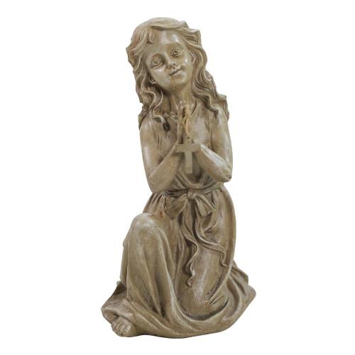 """14.5"""" Brown Kneeling Angel with Cross Outdoor Garden Statue - IMAGE 1"""