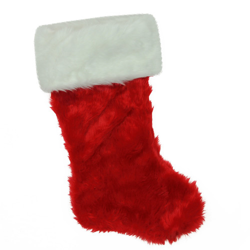 "20"" Red and White Traditional Cuff Extra Plush Christmas Stocking - IMAGE 1"