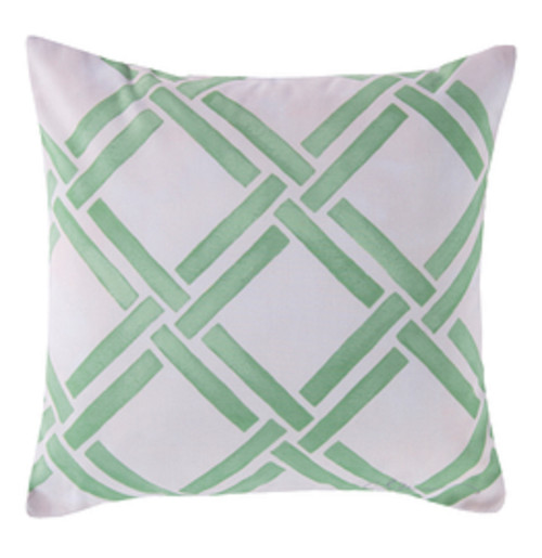 """18"""" Ivory and Seafoam Green Geometric Square Outdoor Throw Pillow - IMAGE 1"""