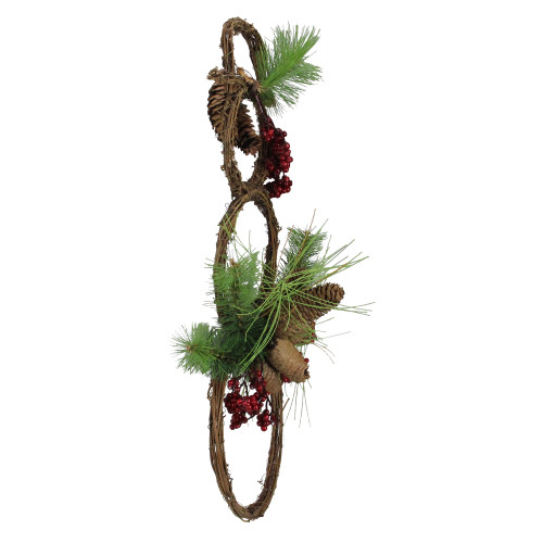 """Christmas Tree Needles: 23.5"""" Grapevine Snowman With Twigs, Berries, Pinecones"""