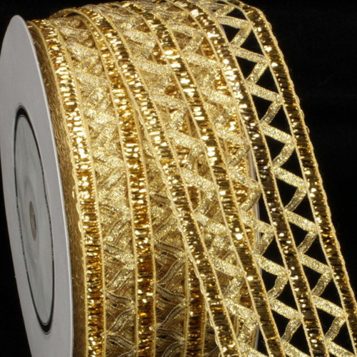 "Gold Open Weave Istanbul Wired Craft Ribbon 2.5"" x 27 Yards - IMAGE 1"