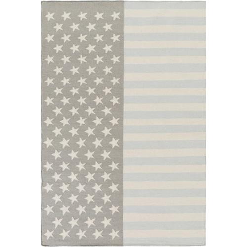2' x 3' Gray and Pale Blue USA Flag Hand Woven Rectangular Wool Area Throw Rug - IMAGE 1