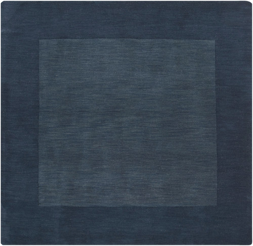 6' x 6' Solid Navy Blue Hand Loomed Square Wool Area Throw Rug - IMAGE 1