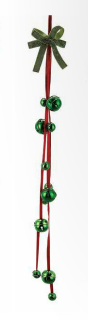 """3' x 4.75"""" Red and Green Jingle Bell with Star Cutouts Hanging Artificial Christmas Ornament - IMAGE 1"""