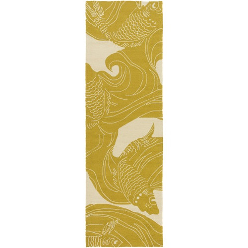 2.5' x 8' Yellow and Light Gray Hand Hooked Outdoor Area Throw Rug and Runner - IMAGE 1