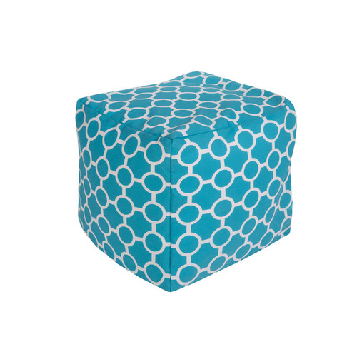 """18"""" Sky Blue and Ivory Gated Spheres Square Outdoor Patio Pouf Ottoman - IMAGE 1"""