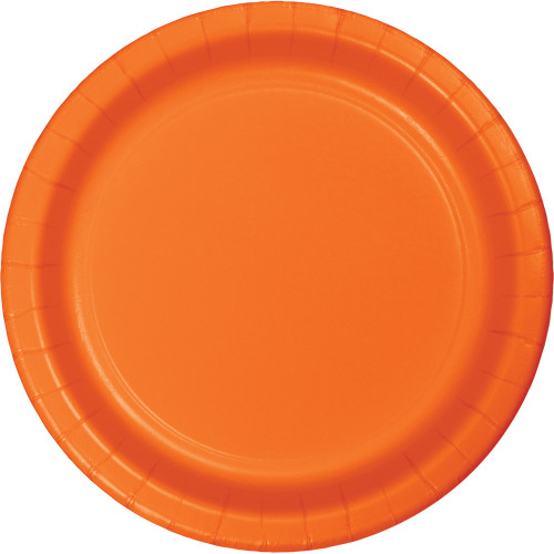 "Club Pack of 240 Orange Disposable Banquet Party Luncheon Plates 7"" - IMAGE 1"