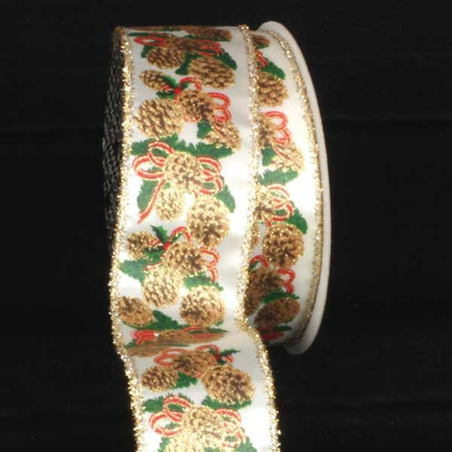 """Ivory and Gold Pinecones Wired Craft Ribbon 2.5"""" x 20 Yards - IMAGE 1"""