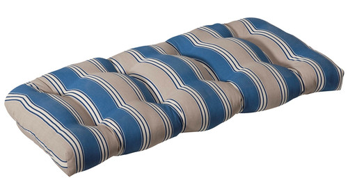 """44"""" Blue and Tan Brown Striped Reversible Outdoor Patio Tufted Wicker Loveseat Cushion - IMAGE 1"""