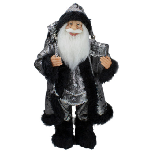 """24"""" Standing Santa Claus in Silver and Black with Gifts Christmas Figure - IMAGE 1"""