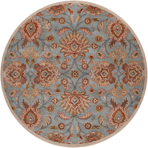 8' Floral Vibrantly Colored Round Area Throw Rug - IMAGE 1