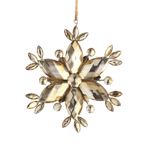 "6"" Gold and Silver Vintage Rustic Faceted Jewel Snowflake Christmas Ornament - IMAGE 1"