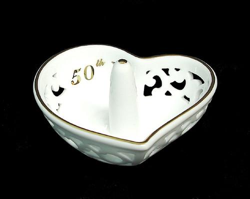 "4"" Golden 50th Anniversary Porcelain Heart Shaped Ring Holder #45657 - IMAGE 1"