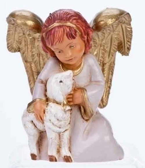 9 25 Brown Ivory Angel With Lion Lamb Religious Figurine