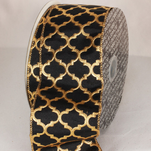 """Black and Gold Wired Craft Ribbon 3"""" x 20 Yards - IMAGE 1"""