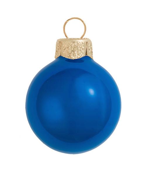 "4ct Cobalt Blue Glass Pearl Christmas Ball Ornaments 4.75"" (120mm) - IMAGE 1"