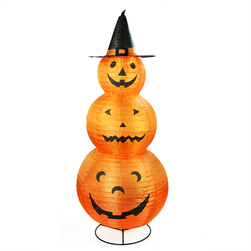 "48"" Orange and Black Pre-Lit Pumpkins with Witch Hat Halloween Outdoor Decoration - IMAGE 1"