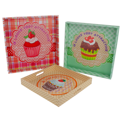 """Set of 3 Green and Brown Cupcake Square Serving Trays 16"""" - IMAGE 1"""